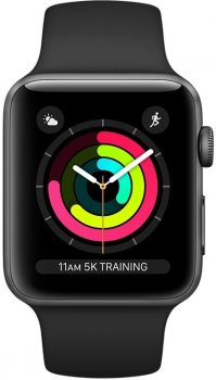 Смарт-годинник Apple Watch Series 3 GPS 42 mm Space Grey Aluminium Case with Black Sport Band (MTF32FS/A)