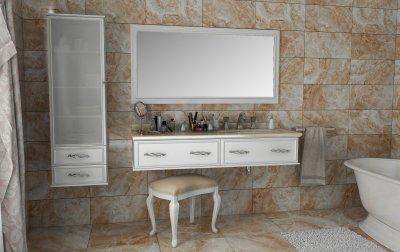 Тумба Лагуна 160 белая с умывальником и зеркалом