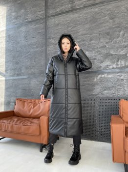 Зимнее пальто оверсайз из эко кожи K&ML 04 Черный