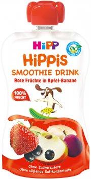 Упаковка фруктового смузі HiPP органічного HiPPiS Червоні ягоди з яблуком та бананом 6 шт х 120 г (4062300310483)