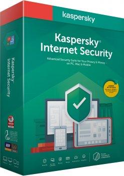 Kaspersky Internet Security 2020 для всіх пристроїв, перше встановлення на 1 рік для 2 ПК (DVD-Box, коробкова версія)