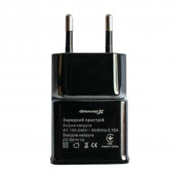 Сетевое зарядное устройство Grand-X 1 USB 1 A Black (CH-765B)
