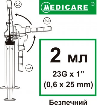 Шприц инъекционный одноразового использования Medicare Безопасный №100 2 мл 100 шт (4820118179391)