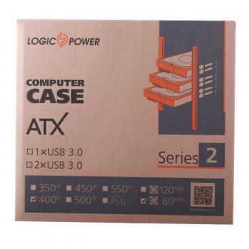 Корпус Logicpower 2010-400W 8см, 2хUSB2.0, Black