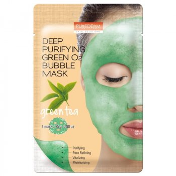 Кислородная маска Purederm Deep Purifying Green O2 Bubble Mask Green Tea - 20 гр