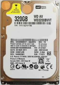 Жесткий диск Western Digital WD3200BVVT 320Gb Sata II Refurbished