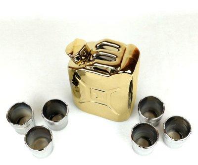 Набор для спиртного Канистра «золотая» 1 л и 6 рюмок керамика (239)