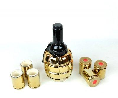 Набор для спиртного Граната Ф1 «золотая» 0,5 л и 6 рюмок керамика (279)