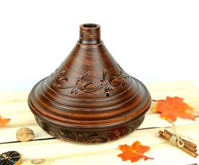 Тажин духовой 2,5 л 260 мм красная керамика (368)
