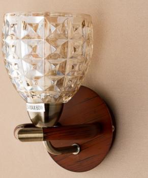 Бра коричневого цвета с фигурным плафоном из стекла (NN013/1W) (SL00511)