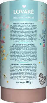 Бленд черного и зеленого чая с клубникой и лепестками цветов Lovare Брызги шампанского 80 г (4820097815556)