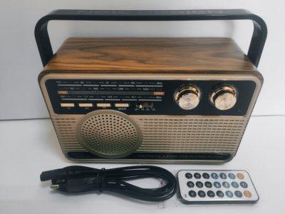 Радіоприймач акумуляторний Kemai MD-506BT Bluetooth, USB, MP3, microSD, пульт ДУ Коричневий (100023)