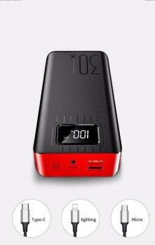 Зовнішній акумулятор YM-177 Power Bank 30000mAh ліхтарик/microUSB/type c/ ios Червоний