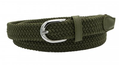 Женский узкий плетеный ремень резинка NA 2.5 см для джинсов или платья зеленый 105 см (NA115412)
