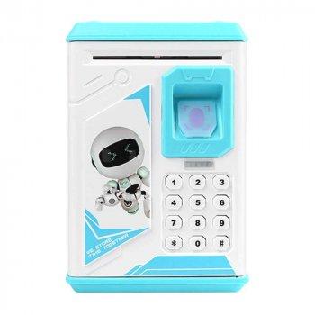Іграшковий дитячий сейф Robot BODYGUARD Блакитний з електронним кодовим замком і з відбитком пальця (1398)