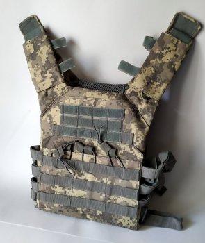 Тактичний військовий жилет плітоноска чохол для бронепластин Tactic під 3 ріжки з системою Molle (plate-pixel)