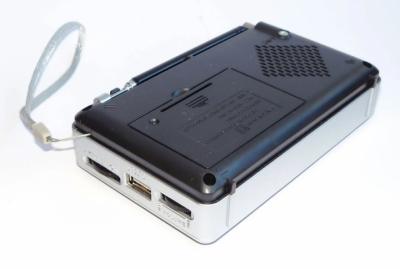 Аккумуляторный радиоприемник всеволновой Golon RX-2277 FM AM радио колонка с фонариком и USB выходом Silver + Ручной фонарь