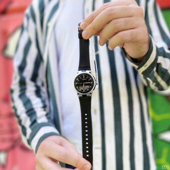 Мужские кварцевые часы Casio Black наручные спортивные на полимеровом ремешке + коробка (1006-1779)