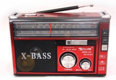 Радіоприймач акумуляторний GOLON RX-382BT з Bluetooth і ліхтариком червоний