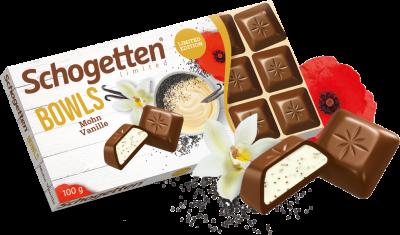 Шоколад молочный Schogetten с ванильным кремом и маком 100г
