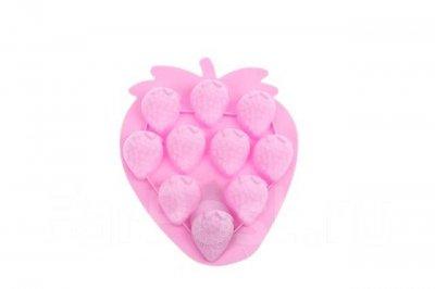Форма для льда силиконовая на 10 порций Stenson Клубничка розовый 18,5х15,4х1,8см (AN000268)