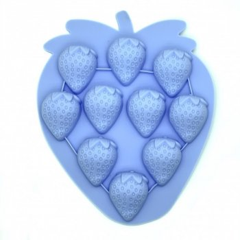 Форма для льда силиконовая на 10 порций Stenson Клубничка голубой 18,5х15,4х1,8см (AN000272)