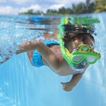 Набор для плавания детская маска с трубкой в виде животного Bestway 24059 (маска: размер S, (3+), обхват головы ≈ 48-52 см, трубка), зеленый