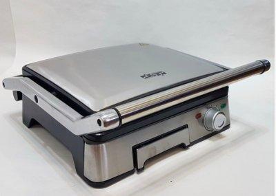 Гриль электрический DSP KB1045 профессиональный с функцией контроля температуры ,1800 ВТ, съёмные панели, Серебристый