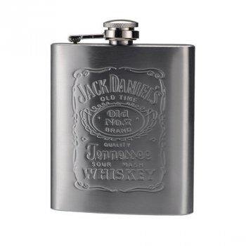 Металлическая подарочная фляга для виски, Jack Daniels, 0.2 л, (1002773-Silver-1)
