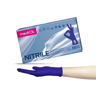 Перчатки нитриловые Mediok фиолетовые Размер S (100шт)