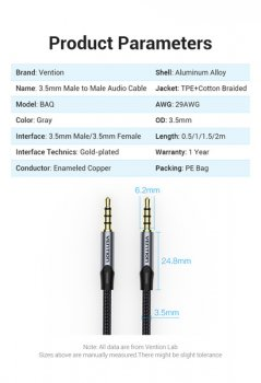 Кабель Vention TRRS Audio 3.5 мм 1.5 м Silver Metal Type (BAQHG)