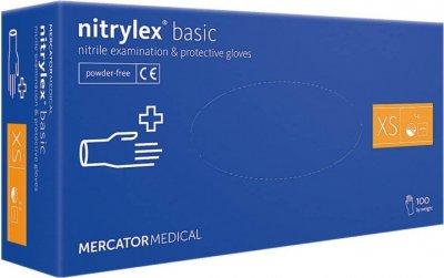 Синие нитриловые перчатки Nitrylex без пудры и винила 100 шт/уп XS