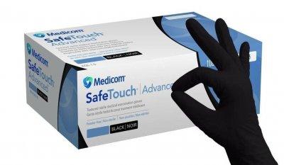 Перчатки черные нитриловые, не стерильные лучшего качества Medicom Safe Touch Black 100 шт/уп S