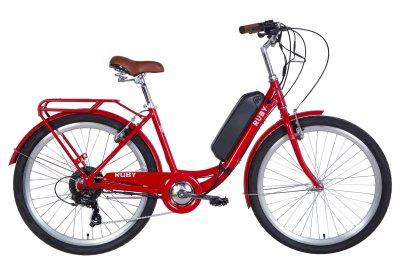 """Электровелосипед Dorozhnik RUBY 17"""" 350Вт 36В редуктор. 8.8Ач с крепл. на раму, дисплей, САП красный 2020"""