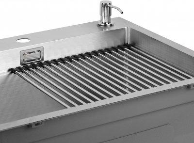 Кухонна мийка QTAP DH6050 3.0/1.2 мм Satin із сушаркою і дозатором