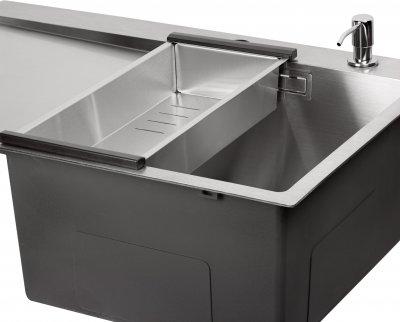 Кухонна мийка QTAP DK7850R 3.0/1.2 мм Satin із сушаркою і дозатором