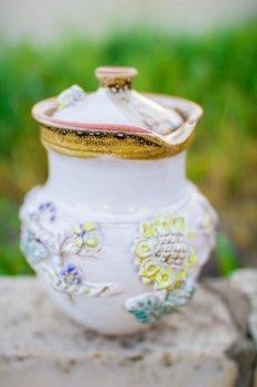Глек ГончарКа керамический ручная работа лепка 1 л. белый