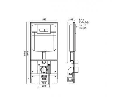 Інсталяція NKP для унітазу прихованого монтажу (без кнопки) 0026