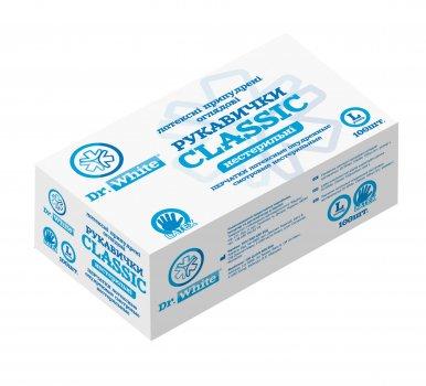 Перчатки медицинские нестерильные латексные Размер L Dr.White CLASSIC 50 пар