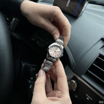 Женские кварцевые часы Casio Silver наручные классические на стальном браслете + коробка (1006-1856)