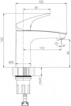 Змішувач для раковини VOLLE Orlando 15191100