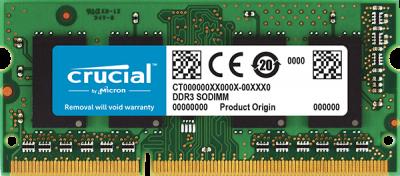 Оперативна пам'ять Crucial SODIMM DDR3L-1866 8192MB PC3L-14900 (CT102464BF186D)