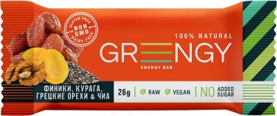 Упаковка батончиков Greengy Финики, Курага, Грецкие орехи и Чиа 12 шт х 26 г (4820221320437)