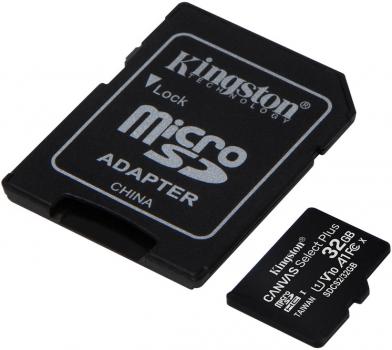 Kingston microSDHC 32GB Canvas Select Plus Class 10 UHS-I U1 V10 A1 + SD-адаптер (SDCS2/32GB)