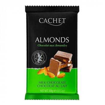 Шоколад Cachet Milk Chocolate 32% with Almonds - Кашет Молочный с Миндалем 300г (00-00001176)