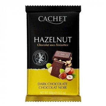 Шоколад Cachet Hazelnut Dark Кашет черный с фундуком 300г (00-00001179)