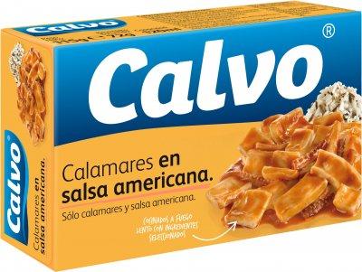 Кальмары Calvo нарезанные кусочками в американском соусе 115 г (8410090302212)