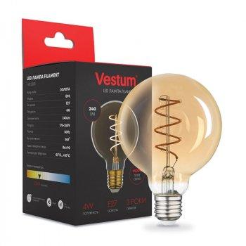 """Лампа LED Vestum філамент """"вінтаж"""" golden twist G95 Е27 4Вт 220V 2500К (1-VS-2503)"""