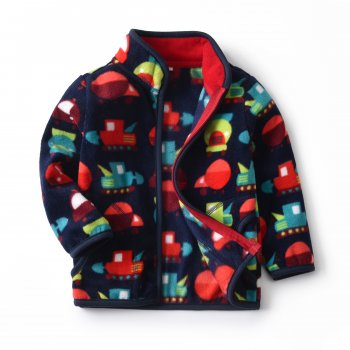 Кофта для мальчика флисовая утеплённая Разноцветные машины Berni Темно-синий (Kivik)