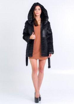Шуба BG-Furs короткая из меха нутрии с поперечной стрижкой Черная